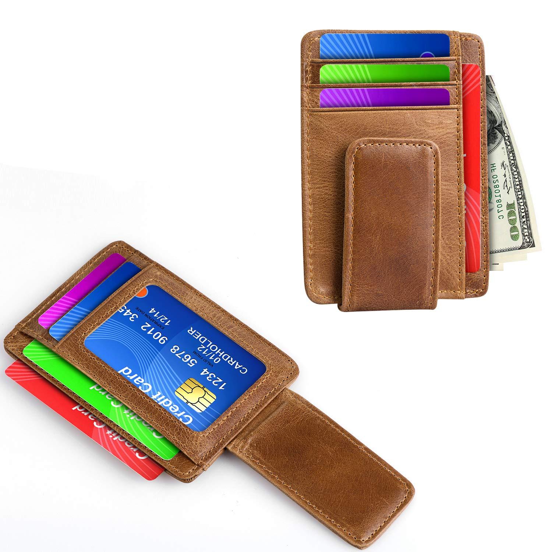 Simple Style Front Pocket Wallet Genuine Leather Magnet Slim Credit Card Holder brown Hopehug FRID Money Clip Wallet for Men