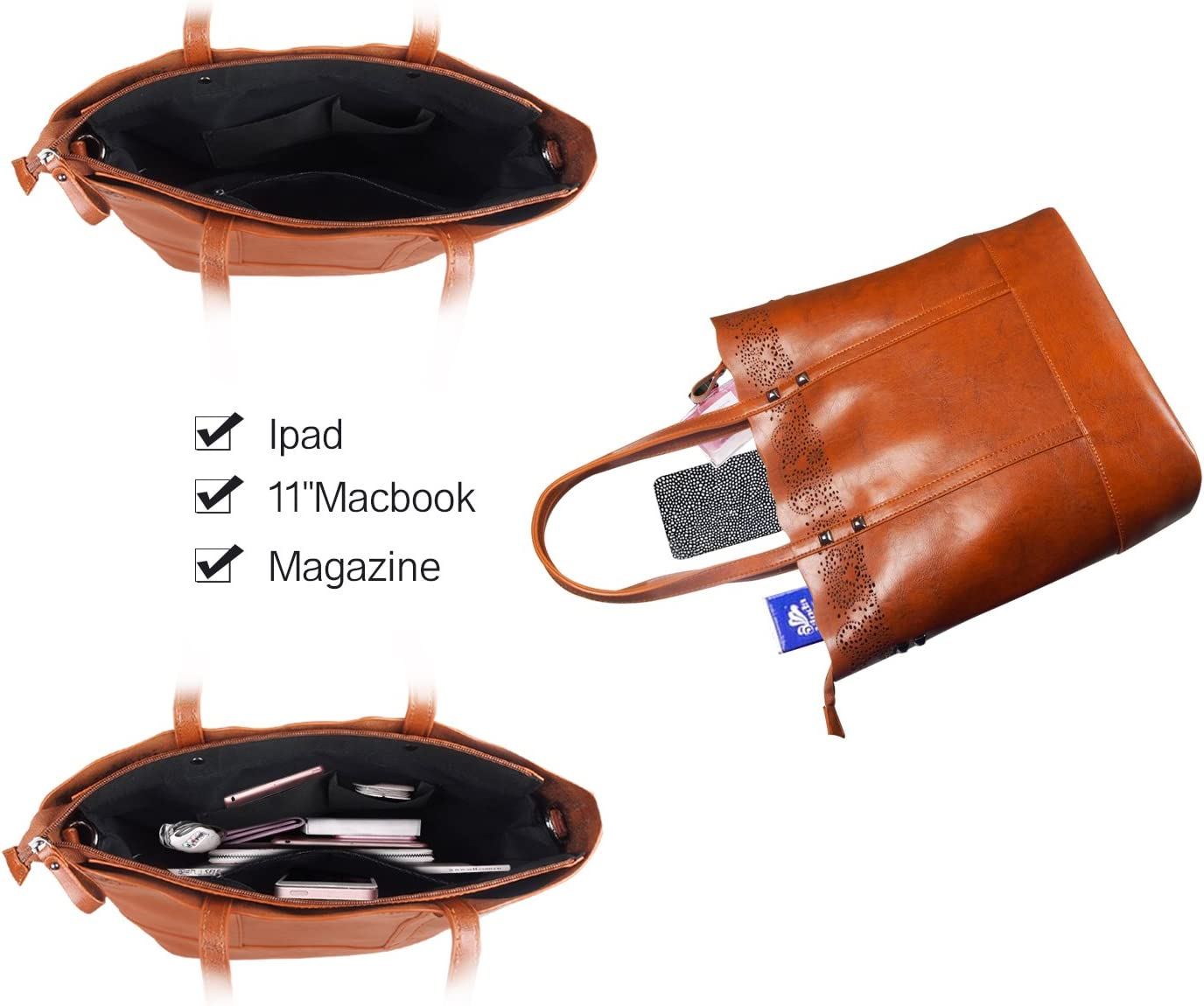 CARQI Women Handbags Leather Top Handle Tote Purse Satchel Bags Shoulder Messager Bag for Ladies