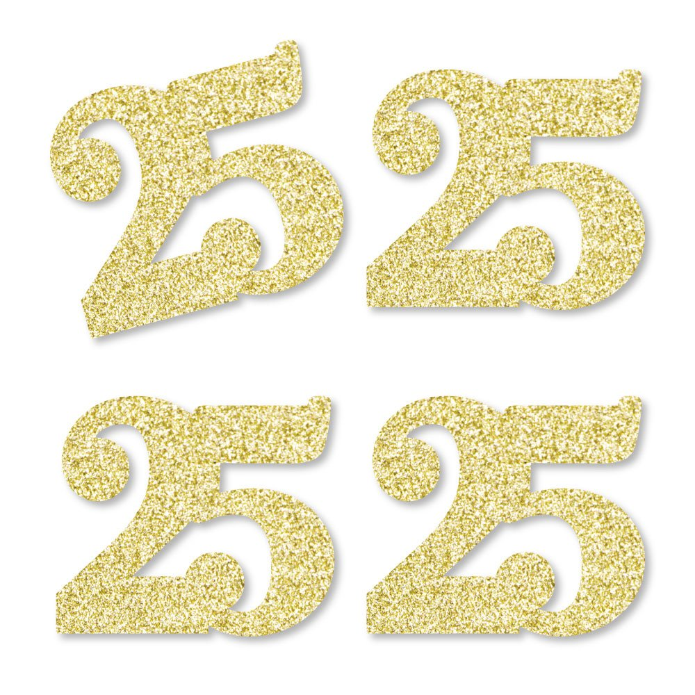 Gold Glitter 25 - No-Mess Real Gold Glitter Cut-Out Numbers - 25th Birthday Party Confetti - Set of 24