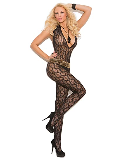 77c5d7b291a Amazon.com  Elegant Moments Women s Deep V Lace Bodystocking with Open  Crotch