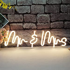 Divatla Mr&mrs Neon Sign for Home Wedding Bridal Shower Rehearsal Dinner Engagement Party Wall Decor, Size- 23.5X 7.5inches LED Tube Sign for Wedding Gift above the Bed Warm white
