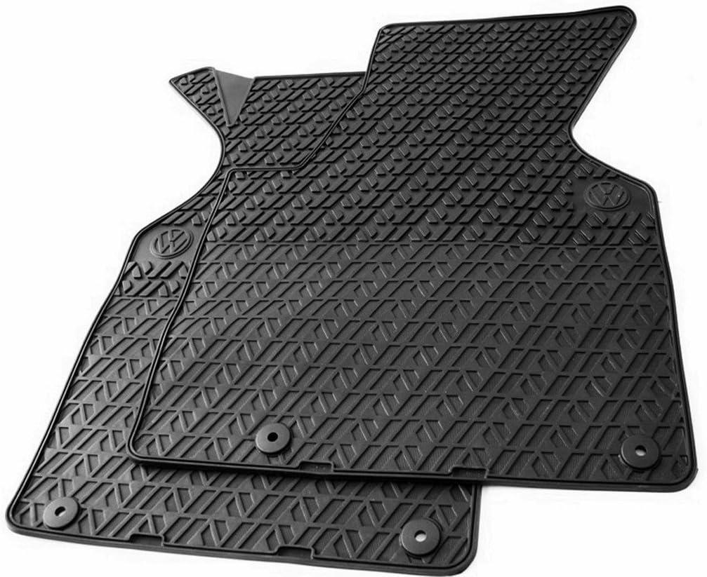 Volkswagen Qualit/é dorigine Tapis en caoutchouc original Tapis de sol en caoutchouc noir 4 pi/èces