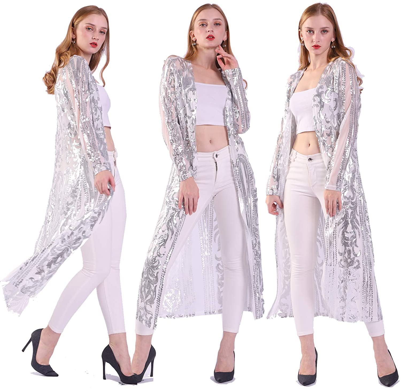 Womens Sequin Ankle Length Sparkle Cardigan Open Front Coat Dresses