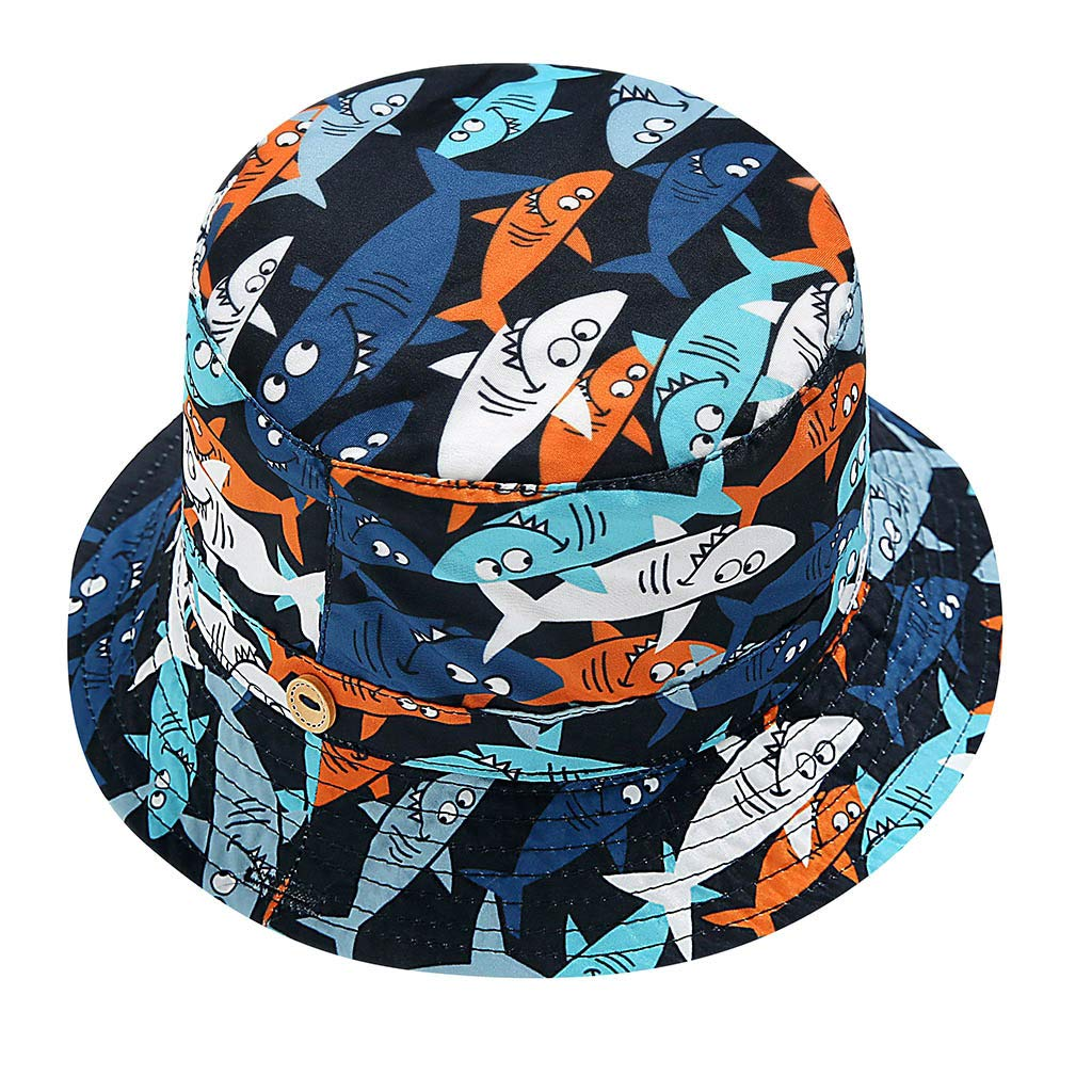Judi Kid Baby Boy Girl Cartoon Beach Cap Adjustable Chin Cuffed Visor Fishermans Hat