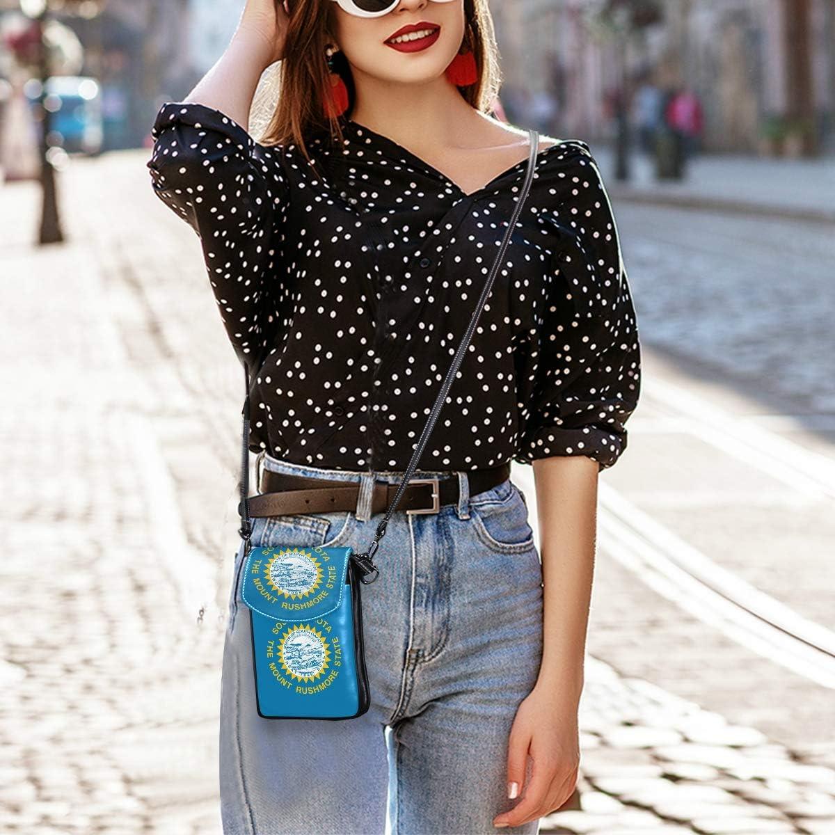 Flag Mini Crossbody Cellphone Purse PU Leather Shoulder Bags Wallet Pouch Handbag