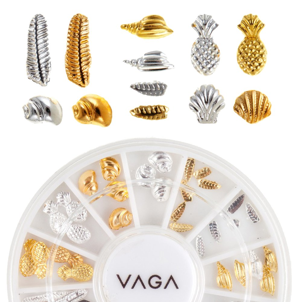 Professional High Quality Manicure 3D Nail Art Decorations Wheel With Metal Nailart Studs In Silver And Golden Colours And 6 Different Designs By VAGA