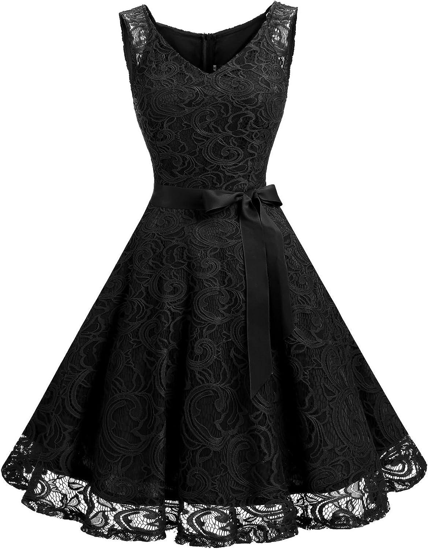 TALLA XXL. Dressystar Vestido Corto Elegante Mujer De Encaje Sin Mangas con Lazo para Madrina Fietsa Black XXL