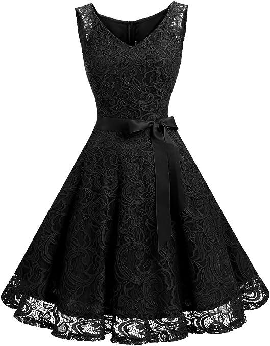 TALLA XS. Dressystar Vestido Corto Elegante Mujer De Encaje Sin Mangas con Lazo para Madrina Fietsa Black XS