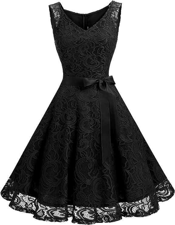 1950s Party Dresses & Prom Dresses for Sale Dressystar Women Floral Lace Bridesmaid Party Dress Short Prom Dress V Neck $35.49 AT vintagedancer.com