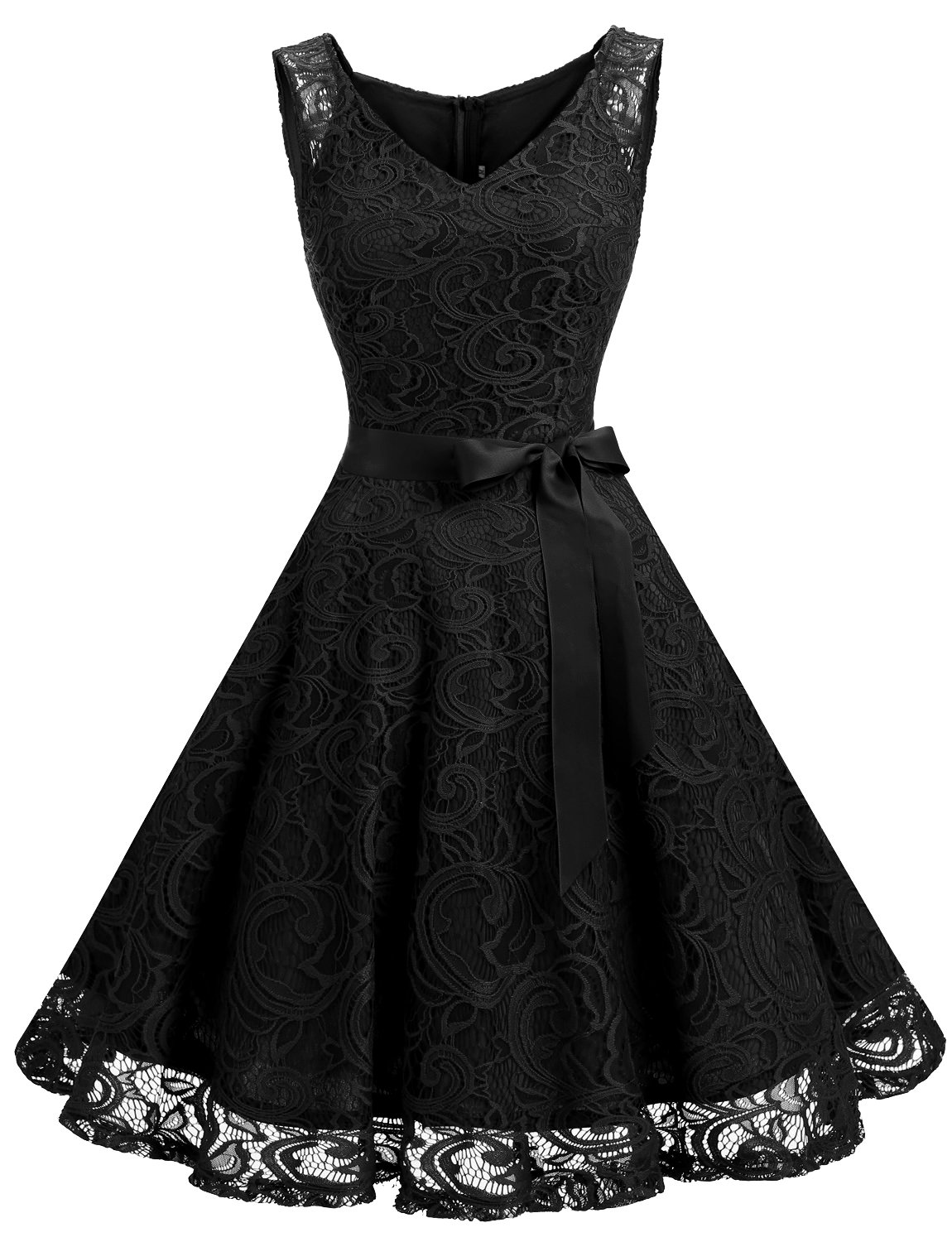 Dressystar Women Floral Lace Bridesmaid Party Dress Short Prom Dress V Neck L Black