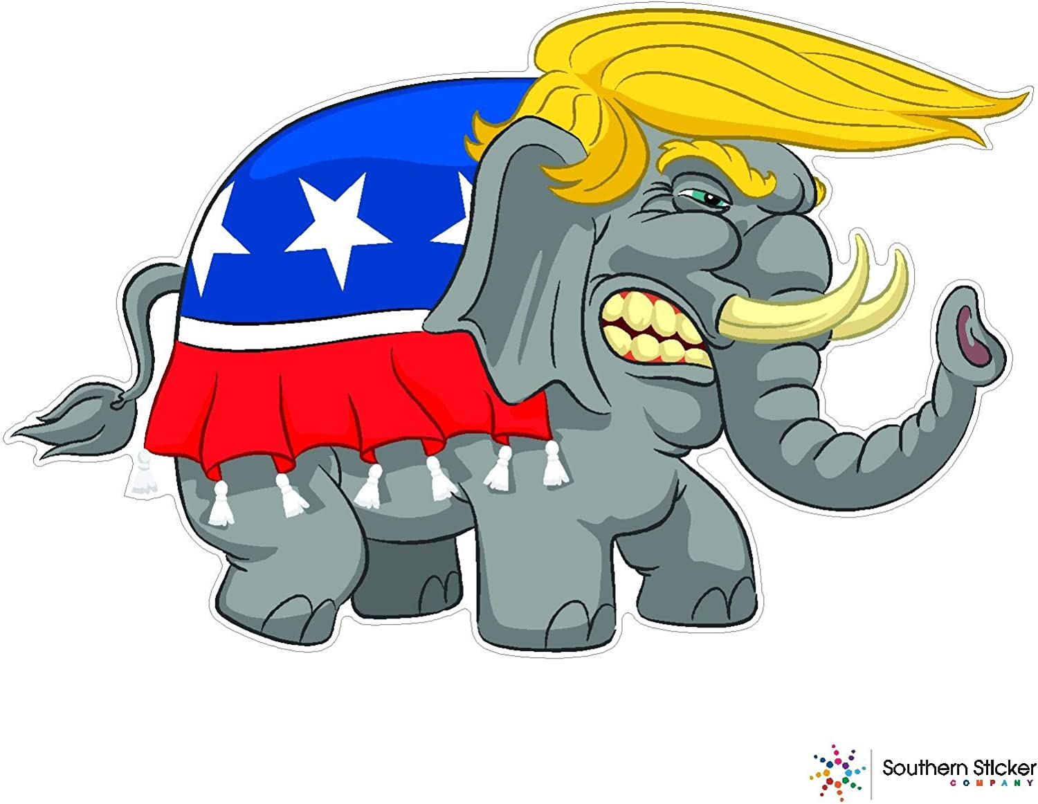"Trump 2020 Bumper Stickers Republican Elephant on 2020 Decals  4/"" wide 2 pack"