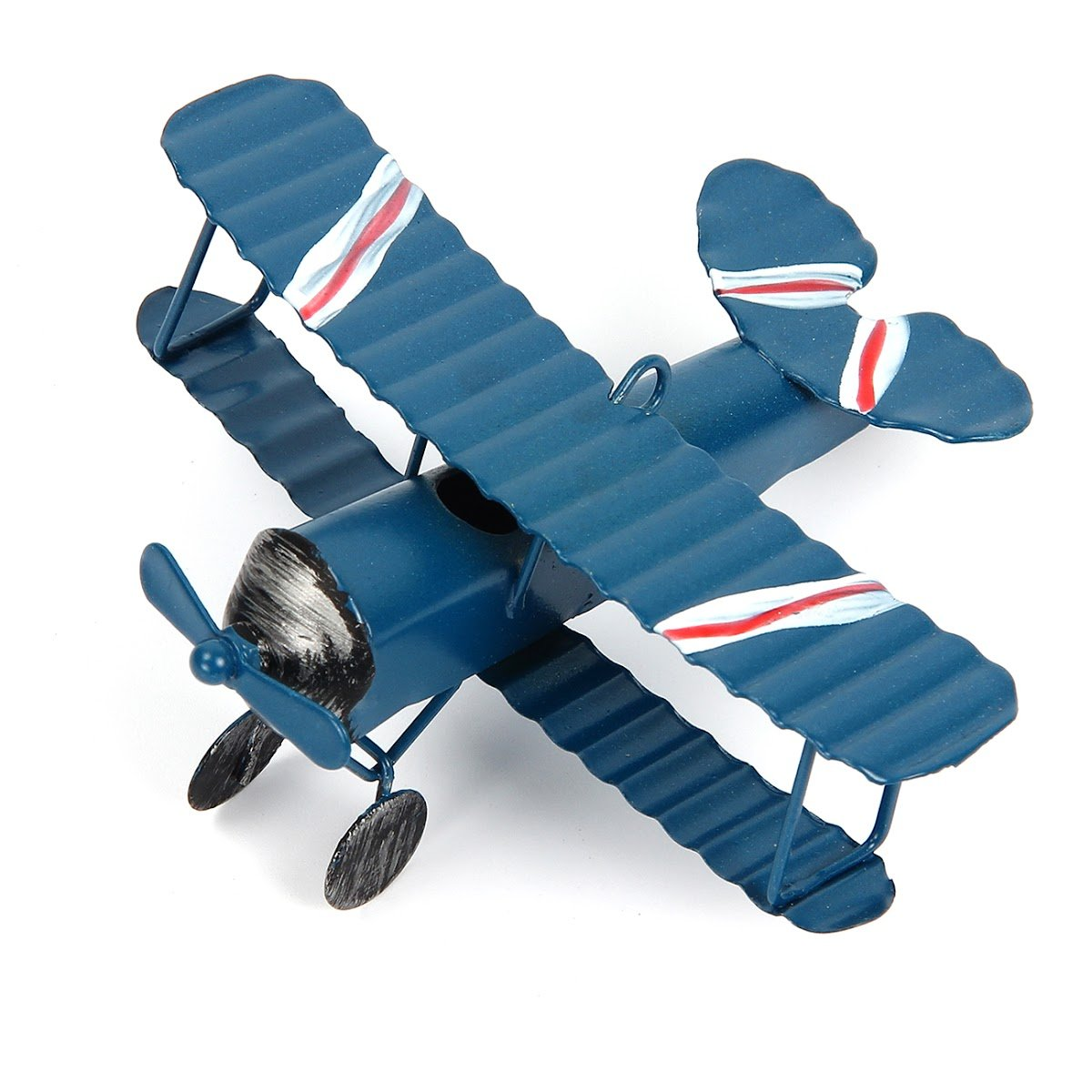 Evilatat Vintage Flugzeug Modell Eisenmodell Metall Flugzeug-Dekoration Doppeldecker Flugzeug Miniatur Dekoration Sammlung Büro Ornament Blau Evilandat