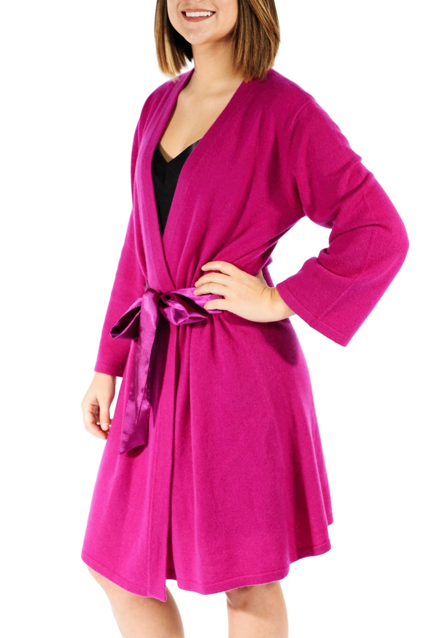 Gigi Reaume 100% Cashmere Women's Robe, Wrap Style, Satin Belt, Short Length (Small, Magenta Pink)