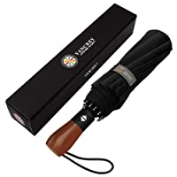 MIKAFEN Umbrella Windproof With Wood Handle - Travel and Automatic Umbrella Compact for Men and Woman - Umbrella with 10 Ribs Fiberglass and Compact Rain Protect
