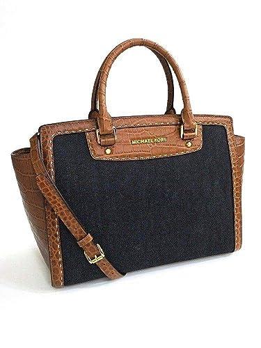 Michael Kors Selma Pick Stich Dark Denim Large Satchel: Handbags ...