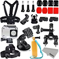 Kupton Accessories For Xiaomi 4K/ Yi 4K+/Yi Lite, Xiaoyi 4K Waterproof Housing Case+ Head Strap+ Chest Harness+ Car Suction Cup+ Bike Handlebar Mount+ Floaty Handle Action Camera Starter Kit