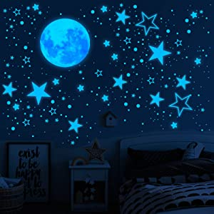 Glow in The Dark Stars for Ceiling, 1049PCS Wall Stickers Inculding Moon and Stars Decor, Glow in The Dark Wall Decals for Kids Room