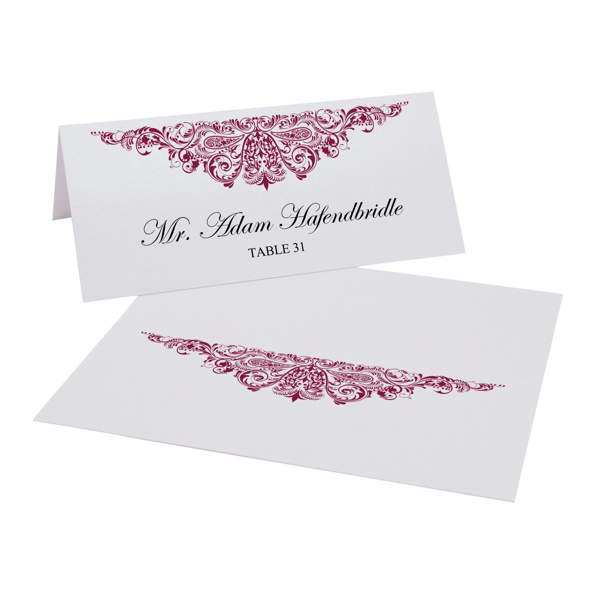 Documents and Designs Paisley Place Cards, Burgundy, Set of 150