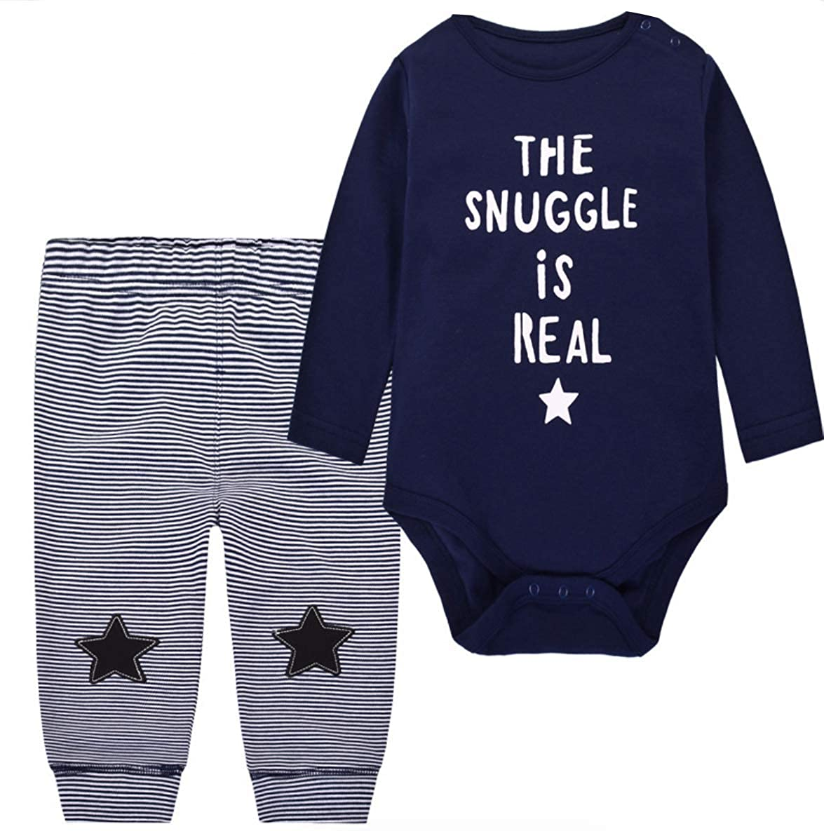 Baby Long and Short Sleeve Pyjamas Set Romper with Bottoms for Baby Boy 12-18 Months, Navy Snuggle