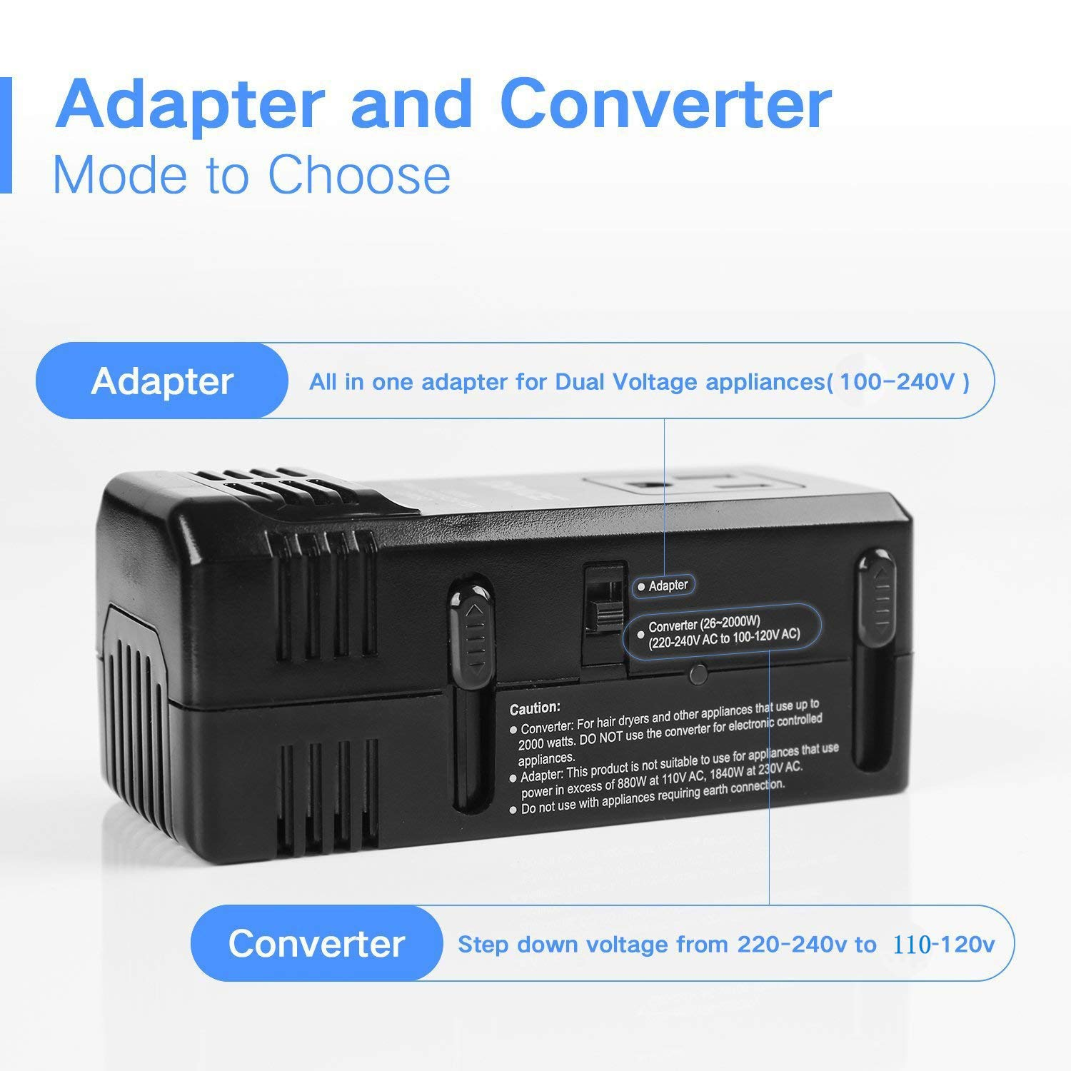 DOACE 1875W Travel Power Converter and Adapter Combo, Step Down Voltage Transformer 220V to 110V for Hair Dryers, International EU/UK/AU/US Wall Charger Plugs for 150 Countries (1875W) (1875W) by DOACE (Image #2)