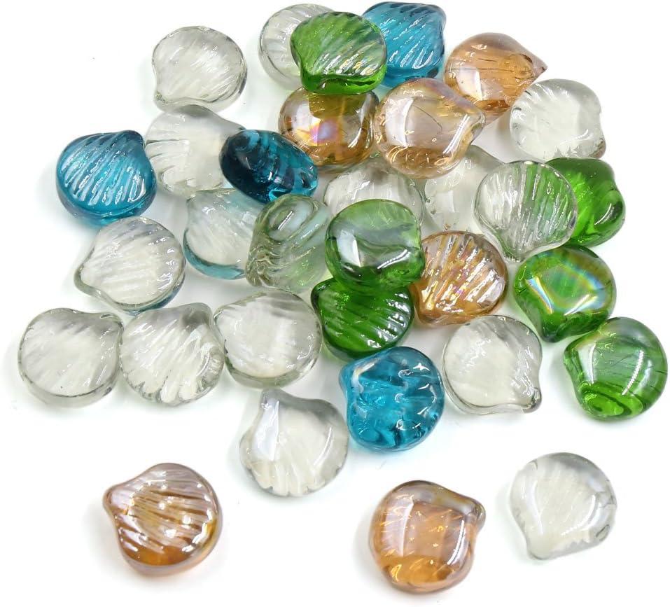 Sourcingmap 500g Multicolor Glass Heart Shaped Fish Tank Aquarium Decor Pebble Bead Stones