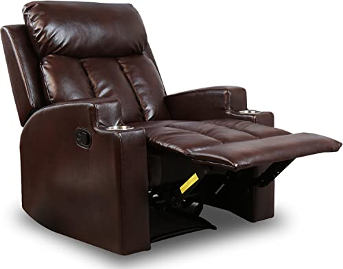 BONZY Contemporary Theater Seating Two Cup Holder Leather Chairs
