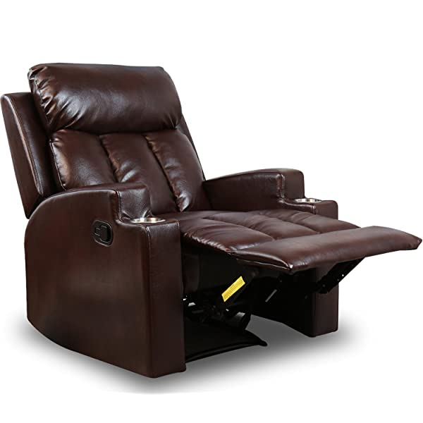 BONZY Recliner Chair Contemporary Theater Seating Two Cup Holder Brown Leather Chairs for Modern Living Room Durable Framework
