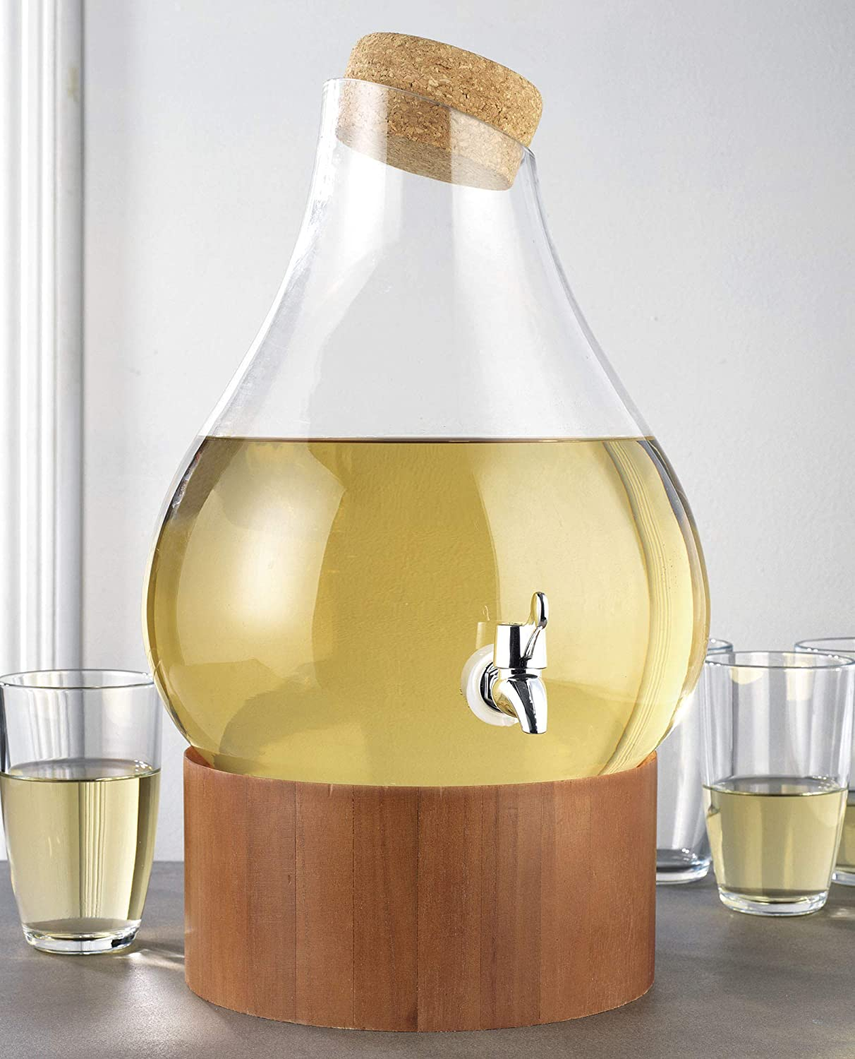 Classic Home Teardrop Clear Glass Ice Cold Beverage Drink Dispenser- 2.75 Gallon, With Cork Lid & Modern Wood Base Leak Proof Spigot- Wide Mouth Easy Filling For Outdoor, Parties & Daily Use