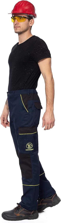 con Bolsillos multifuncionales y Rodilleras y Franjas Reflectantes DINOZAVR Pantalones de Trabajo Estilo Cargo para Hombre Resistentes
