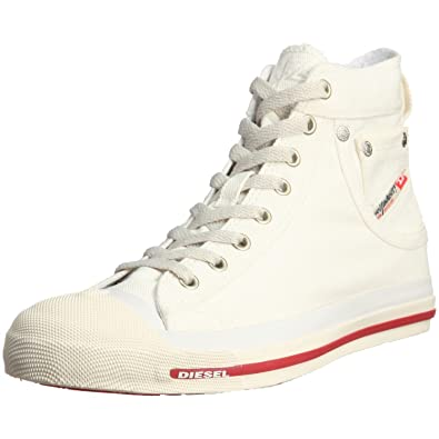 5ef604781c40 DIESEL Exposure Hi Off White Red Mens Canvas New Trainers Shoes Boots-41
