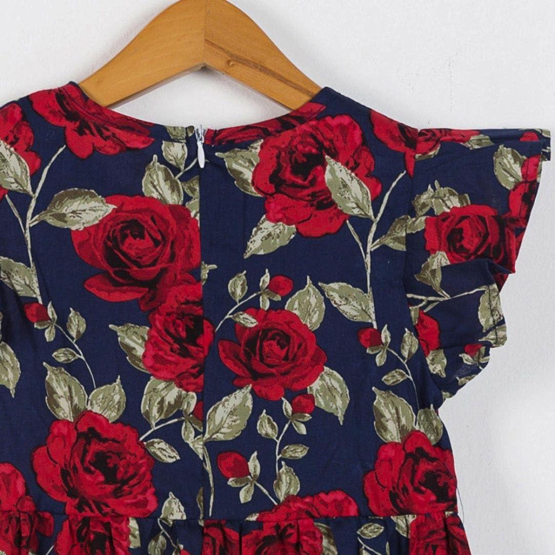 OHQ Robe sans Manches Imprim/é Floral G/éOm/éTrique Noir Bleu Fonc/é Rose Blanc B/éB/é Filles Enfants Infant Toddler V/êTements Princess Dress Robes Elegante Grande Taille Soldes