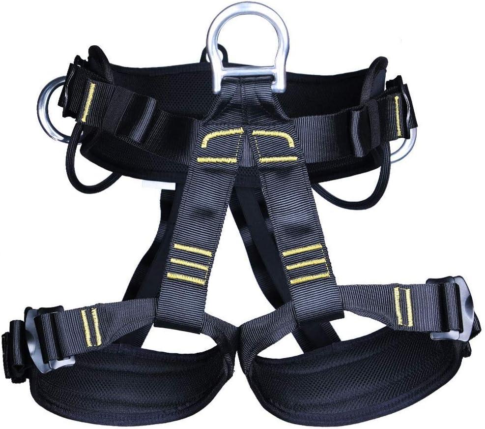 Syokosan 屋外ロッククライミングワイドストラップ安全ハーネスクライミング機器半身洞窟安全シートベルト (色 : 黒) 黒