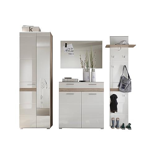Furnline High Gloss Oak San Remo Hallway Furniture Wardrobe Set One, White