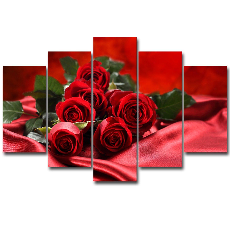 Royllent アートパネル インテリアアート「赤い薔薇」キャンバス絵画 5パネルセット(額付きの完成品) B071NHR2WC