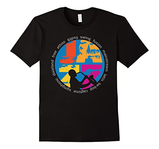 Mens Colorful Jazz Genres T-shirt 2XL Black