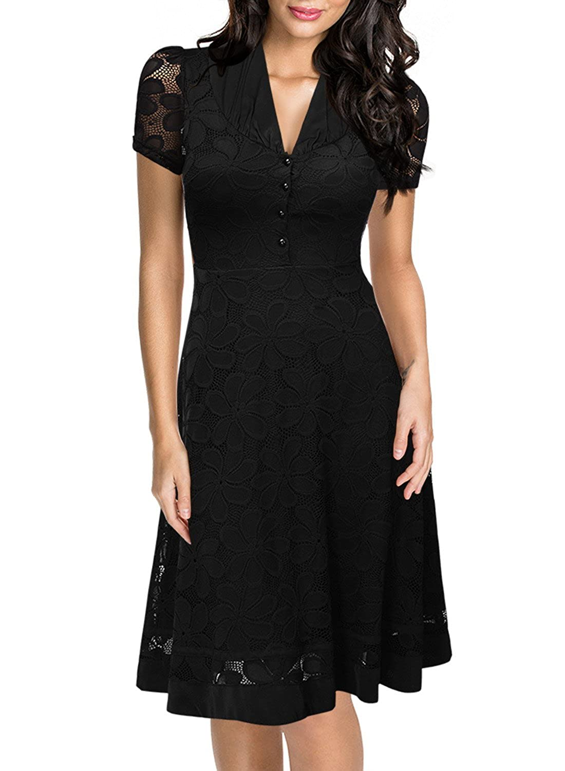 Miusol Women's Retro V-Neck Floral Lace Cap Sleeve Elegant Formal Dress (3220)