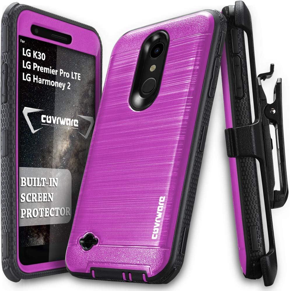 LG K30 / LG Premier Pro LTE/LG Harmony 2 case, COVRWARE [ Iron Tank Series ] with Built-in [Screen Protector] Full-Body Armor Cover Brush Metal Texture Design [Belt Swivel Clip][Kickstand], Magenta