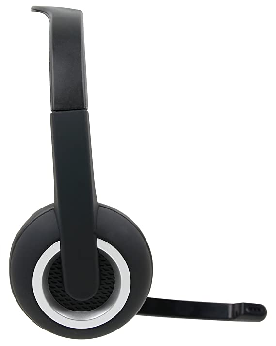 DURAGADGET Auriculares de diadema negros con micrófono móvil ...