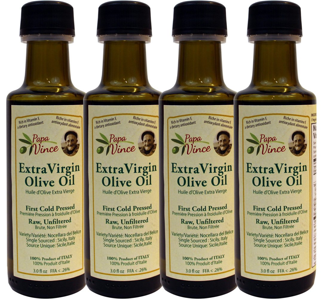 Olive Oil Extra Virgin, Family Made, 100% Unblended First Cold Pressed, Single Sourced from Sicily, Italy, Unfiltered Unrefined Robust Rich in Antioxidants | 3 Fl Oz 4Pack - Papa Vince