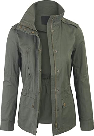 Womens Military Safari Anorak Field Jacket Zip Up Snap Buttons Cotton Canvas Coat with Pockets
