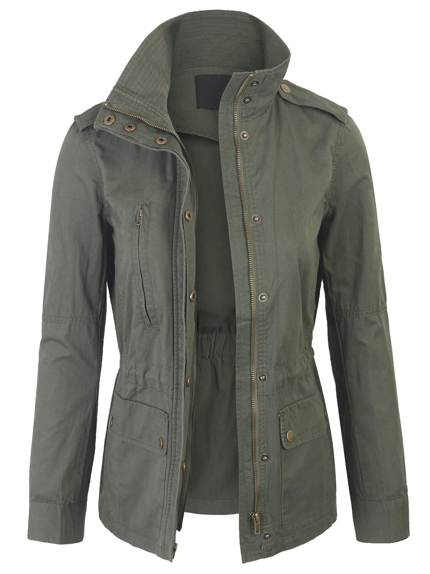 KOGMO Womens Zip Up Military Anorak Safari Jacket Coat -XL-Olive by KOGMO