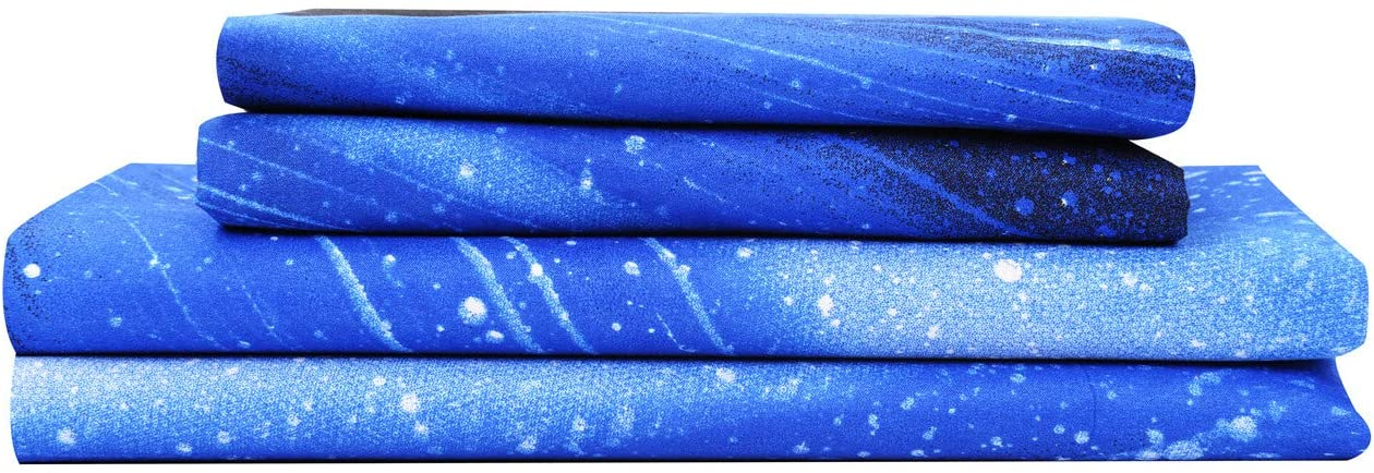 Bedlifes Galaxy Sheets Outer Space 3D Sheet Set Galaxy Theme Bedding sets 3PCS Bed Sheet& Fitted Sheet with 1 Pillowcase Sky blue Twin
