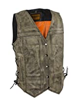 Women's Distressed Brown Leather Motorcycle Vest With Side Laces