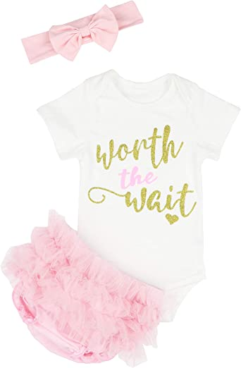 US 3PCS Newborn Baby Girl Clothes Romper Jumpsuit+Tutu Skirt+Headband Outfit Set