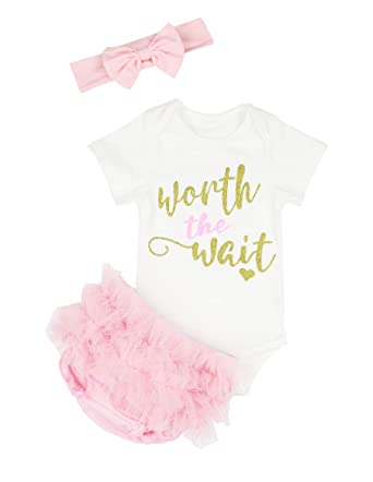 6ee906664 Baby Girl First New Year Dress Outfit Worth The Wait Romper + Skirt +  Headband 0
