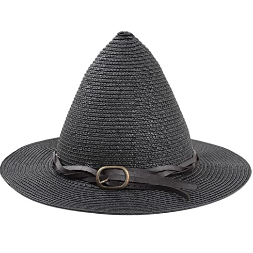 936466b8658 SAYM Women Fashion Candy Color Children Straw Pointed Witches  Hat Beach  Sun Cap Black