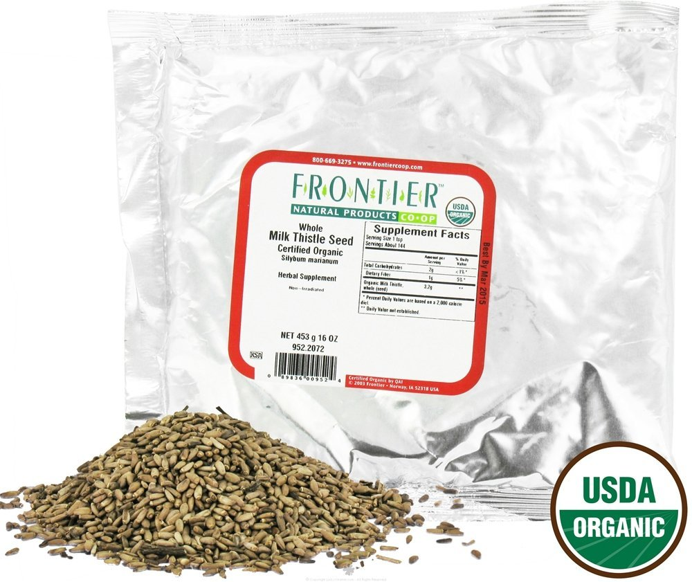 Frontier Natural Products Milk Thistle Seed Whole ORGANIC 1 lbs (Pack of 2)