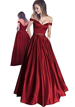 Off The Shoulder Beaded Satin Evening Prom Dress with Pocket Burgundy-US2