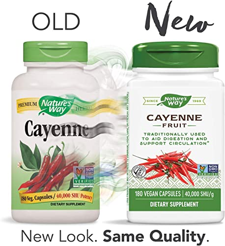 Nature s Way Cayenne Pepper 40,000 SHU Potency, Non-GMO Gluten Free, Vegetarian Capsules, 180 Count
