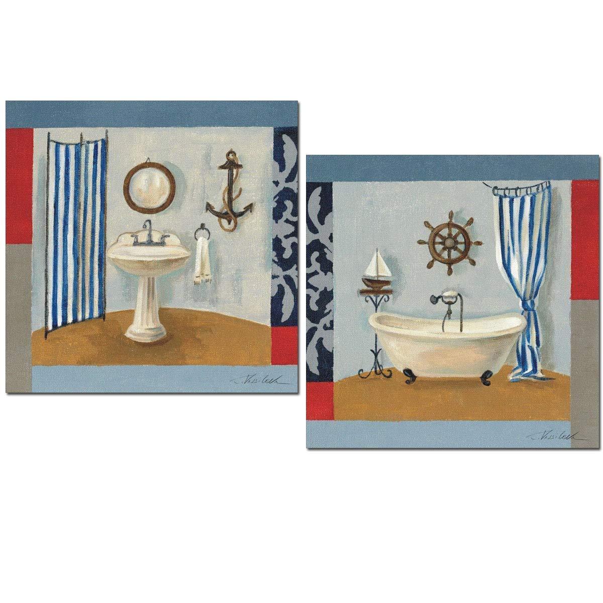 Cuadros decoración baño MARÍTIMO vintage para decorar el baño WC 24x24x7 impermeable con polímero protector y adhesivo doble cara para colgar, fácil instalación.